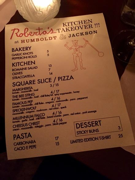 Roberta's Kitchen Takeover Menu at Humboldt & Jackson